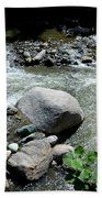Stream Water Foams And Rushes Past Boulders Beach Towel