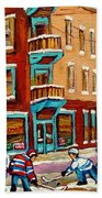 Street Hockey Practice Wilensky's Diner Montreal Winter Street Scenes Paintings Carole Spandau Beach Towel