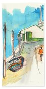 Street In Ericeira In Portugal Beach Towel