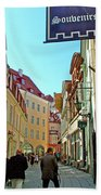 Street In Old Town Tallinn-estonia Beach Towel