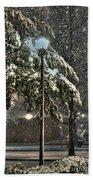 Street Lamp In The Snow Beach Sheet
