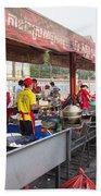 Street Restaurant In Phnom Penh Cambodia Beach Towel
