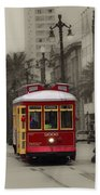 Streetcar On Canal Street - New Orleans Beach Towel