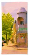 Streets Of Pointe St Charles Summer Scene Connies Pizza Rue Charlevoix Et Grand Trunk Carole Spandau Beach Towel
