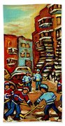 Streets Of Verdun Paintings He Shoots He Scores Our Hockey Town Forever Montreal City Scenes  Beach Towel