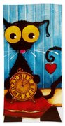 Stressie Cat And The Tick Tock Beach Towel