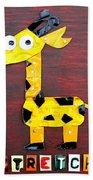 Stretch The Giraffe License Plate Art Beach Towel