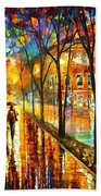 Stroll With My Best Friend - Palette Knife Oil Painting On Canvas By Leonid Afremov Beach Towel