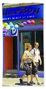 Strolling By The Blue Boy Frozen Yogurt Glacee Cafe Plateau Mont Royal City Scene Carole Spandau   Beach Towel