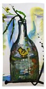 Study - Yellow Ducky In  Bottle Beach Towel