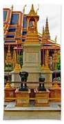 Stupa Surrounded By Elephants At Grand Palace Of Thailand In Ban Beach Towel