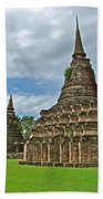 Stupas Of Wat Mahathat In 13th Century Sukhothai Historical Park-thailand Beach Towel