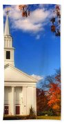 Sturbridge Church In Autumn Beach Towel