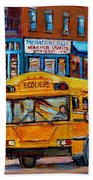 St.viateur Bagel And School Bus Montreal Urban City Scene Beach Towel