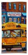 St.viateur Bagel And School Bus Montreal Urban City Scene Beach Sheet