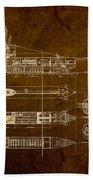 Submarine Blueprint Vintage On Distressed Worn Parchment Beach Towel