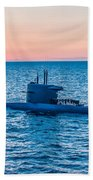Submarine Sunset Beach Towel