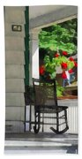 Suburbs - Porch With Rocking Chair And Geraniums Beach Towel by Susan Savad