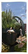 Succulents In A Planter Beach Towel