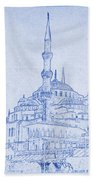 Sultan Ahmed Mosque Istanbul Blueprint Beach Towel