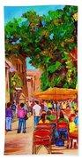Summer Cafes Beach Towel by Carole Spandau