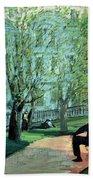 Summer Day Boston Public Garden Beach Towel by George Luks