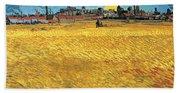 Summer Evening Wheat Field At Sunset Beach Towel
