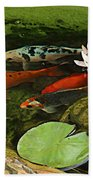 Summer Koi And Lilly Beach Towel