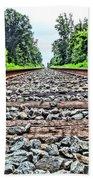 Summer Railroad Tracks Beach Towel