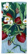 Summer Strawberries Beach Towel