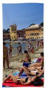 Sun Bathers In Sestri Levante In The Italian Riviera In Liguria Italy Beach Towel