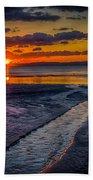 Sundown On Prestwick Beach Beach Towel