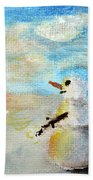 Sundown Snowman Beach Towel