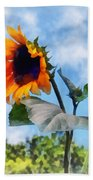 Sunflower Against The Sky Beach Towel by Susan Savad