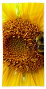 Sunflower And A Bee Beach Towel