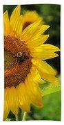 Sunflower And Bee II Beach Towel