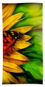 Sunflower And Butterfly Beach Towel