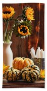 Sunflower And Gourds Still Life Beach Towel