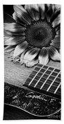 Sunflower And Guitar Beach Towel