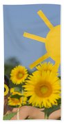 Sunflower And Sun Beach Towel