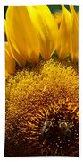 Sunflower And Two Bees Beach Towel