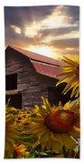 Sunflower Dance Beach Sheet by Debra and Dave Vanderlaan