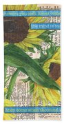 Sunflower Dictionary 1 Beach Towel by Debbie DeWitt