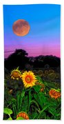 Sunflower Patch And Moon  Beach Towel