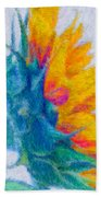 Sunflower Profile Impressionism Beach Towel