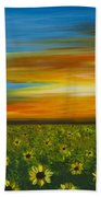Sunflower Sunset - Flower Art By Sharon Cummings Beach Towel by Sharon Cummings