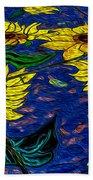 Sunflower Tiled Oil Painting Beach Towel