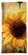 Sunflower With Texture Beach Towel