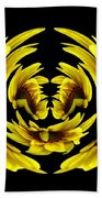 Sunflower With Warp And Polar Coordinates Effects Beach Towel
