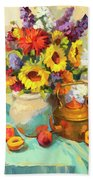 Sunflowers And Copper Beach Towel